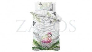 Lenjerie pat 1 persoana 100% BUMBAC - 2 piese - Verde pal, model flamingo si frunze tropicale-140 x 220