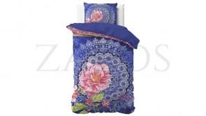 Lenjerie pat 1 persoana 100% BUMBAC - 2 piese - Albastru, imprimeu mandala si trandafir roz-140 x 220