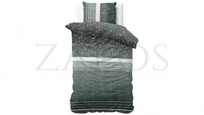 Lenjerie pat 1 persoana 100% BUMBAC - 2 piese - Verde inchis, model linii-140 x 220