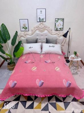 Cuvertura pat dublu CATIFEA PLUSATA - Roz, model frunze colorate