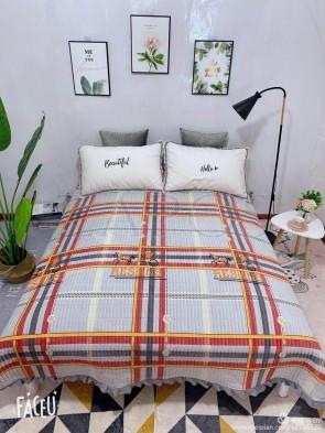 Cuvertura pat dublu CATIFEA PLUSATA - Bleu, model carouri mari cu diferite culori