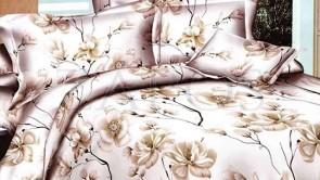 Lenjerie pat 2 persoane BUMBAC FINET - 4 piese - Alb, model flori inflorite cu tulpini crem si maro