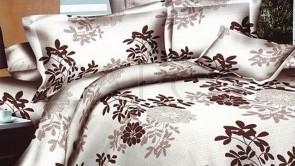 Lenjerie pat 2 persoane BUMBAC FINET - 4 piese - Bej, model frunze maro