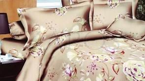Lenjerie pat 2 persoane BUMBAC FINET - 4 piese - Bej, model trandafiri infloriti cu frunze in diferite nuante