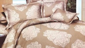Lenjerie pat 2 persoane BUMBAC FINET - 4 piese - Crem, model oriental alb