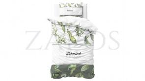 Lenjerie pat 1 persoana 100% BUMBAC - 2 piese - Alb, model frunze si fundal verde-140 x 220
