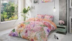 Lenjerie pat 1 persoana 100% BUMBAC - 2 piese - Roz, model mandala si flori-140 x 220