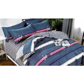 "Lenjerie pat 2 persoane BUMBAC FINET - 4 piese - Albastru, model ""fashion"" cu linii"