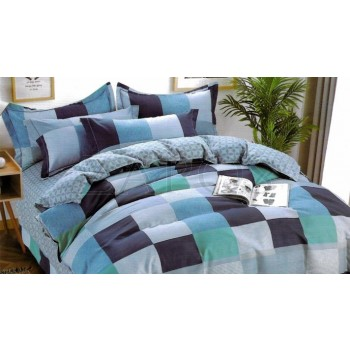 Lenjerie pat 2 persoane BUMBAC FINET - 4 piese - Albastru, model patrate cu diverse nuante