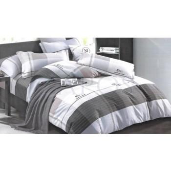 """Lenjerie pat 2 persoane BUMBAC FINET - 4 piese - Gri, model linii si imprimeuri de diferite nuante """"ESR"""""""