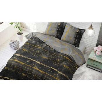 Lenjerie pat 2 persoane 60% BUMBAC - 3 piese - Negru, imprimeu abstract cu accente galbene