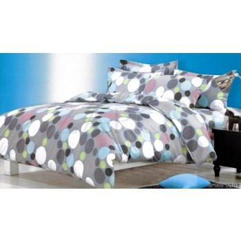 Lenjerie pat 2 persoane BUMBAC FINET - 4 piese - Albastru, model cu cercuri mari colorate