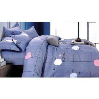"""Lenjerie pat 2 persoane BUMBAC FINET - 4 piese - Albastru, model cercuri """"Love"""""""