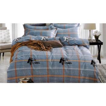 """Lenjerie pat 2 persoane BUMBAC FINET - 4 piese - Albastru, model cu dungi intersectate """"Camel"""""""