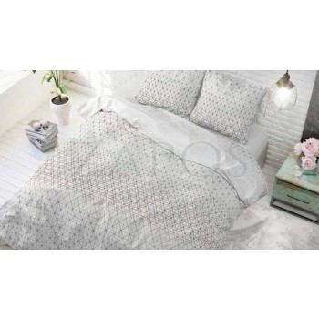 Lenjerie pat 2 persoane 60% BUMBAC - 3 piese - Alb, model linii grafice