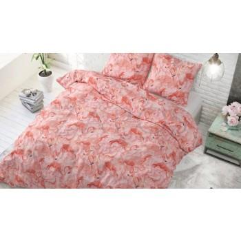 Lenjerie pat 2 persoane 60% BUMBAC - 3 piese - Roz somon, imprimeu flamingo