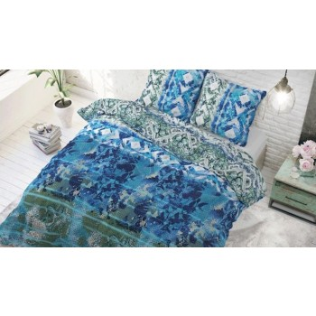 Lenjerie pat 2 persoane 60% BUMBAC - 3 piese - Turcoaz, imprimeu cu frunze si romburi in diferite nuante