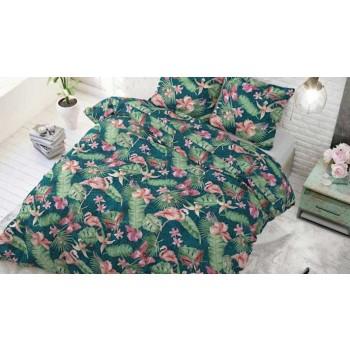 Lenjerie pat 2 persoane 60% BUMBAC - 3 piese - Verde, imprimeu elemente tropicale roz